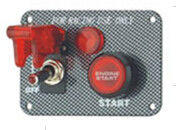 Carbon Fiber Racing Ignition Switch Panel , Red Illuminated Engine Start Button