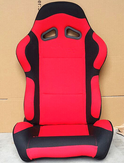 Black And Red Sport Racing Seats Universal Cars Parts Foldable With Safety Belts